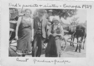 My great aunt Tova, my great Grandparents Gimple and Chava. The man driving is an Uncle. And the horses and cart they bought with the money my grandparents sent. They all perished.