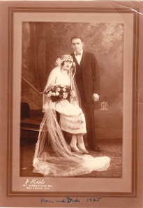 Grandma Thelma and Grandpa Nat in their wedding finery.