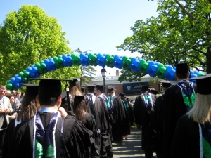 Walking through the balloon arch at Drew University graduation. This was in 2008.