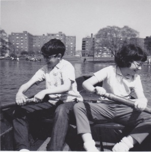 My brother and I rowing on the Lake in Hudson County Park.