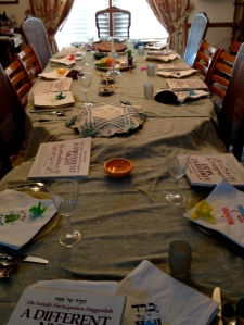 2014 Passover Seder.  Matzah cover in the middle of the table.