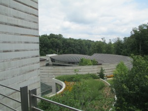 Looking down at the Crystal Bridges Art Museum.  A lovely spot