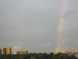 Double rainbow over the George Washington Bridge, view from my parent's apartment.