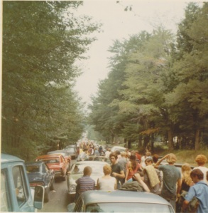 The hoards of people walking towards Woodstock toward Hurd Road on West Shore Road.