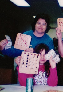 My daughter and I with our Minnesota bingo winnings.  My friend and her son also won that night!