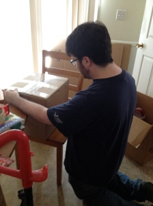 One nephew taped boxes after I packed them.