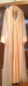 Mom's peach colored peignoir.