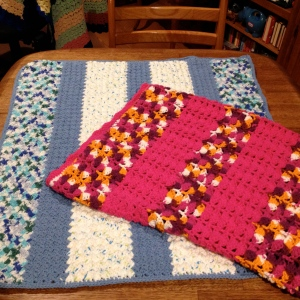 First two blankets with Sugar'n Cream yarn.