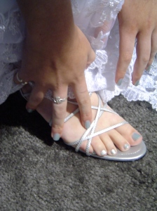 My daughter used to model bridal gowns. This was one of her favorite mani/pedis.