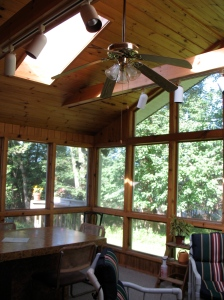 The screened porch.