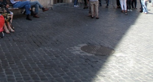 Stone walkways in the Jewish Quarter of Rome.