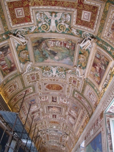 A portion of the ceiling in the extremely long reception hall, also known as the map room because of the frescos of different areas of Italy.
