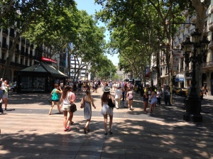 The beautifully stone paved Rambla.  Easy to walk on.